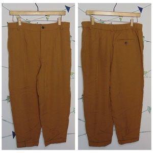 Zara Ankle Crop Dark Tan Trousers Pants